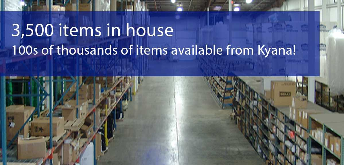 An image showing an aisle inside Kyana Packaging Solutions' 120,000 square foot warehouse, featuring 3,500 in stock items and hundreds of thousands of available items from Kyana